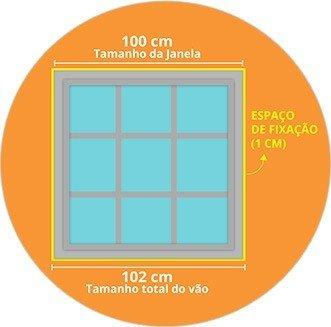 Exemplo Janela 100 cm + 1 cm para cada lado = largura do vão de 102 cm